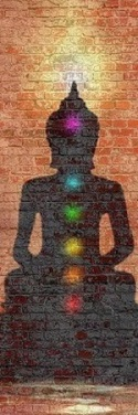 Silhouette with different colours representing the 7 main chakras