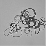 Assortment of elastic bands in monochrome