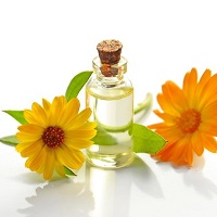 Yellow and orange flowers with essential oil