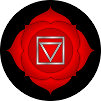 Red four-petal lotus representing the base or root chakra