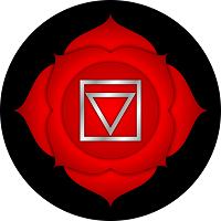 Red four-petal lotus representing the base or root chakra