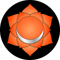 Sacral chakra represented by orange, 6-petal lotus