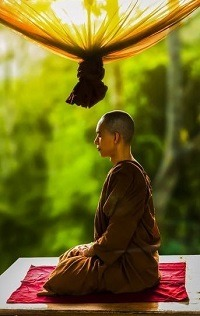 Profile of a monk meditating