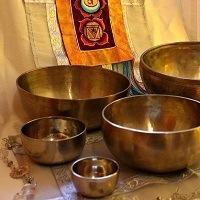 Selection of metal singing bowls