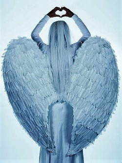 Back view of an angel signifying love and protection